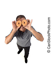 man with donut on white background