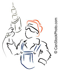 Man with drill - Illustration of worker with drill at work