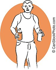 Man with Drinks