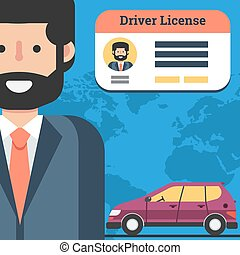 Man with driver license and car