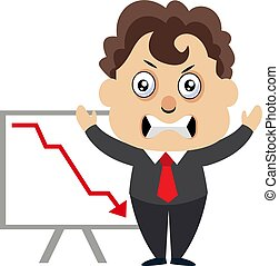 Man with dropping stock, illustration, vector on white background.
