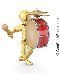 Man with drum and drumstick. 3d