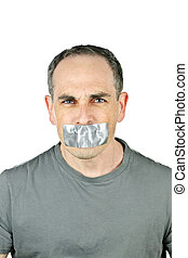 Man with duct tape on mouth - Portrait of angry man with...