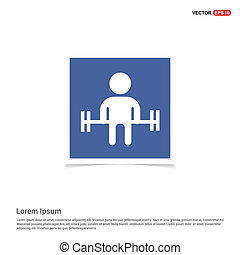 Man with dumbbell Icon - Blue photo Frame