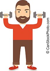 Man with dumbbells.
