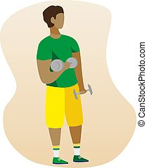 Man With Dumbbells . Flat illustration. Fitness Vector