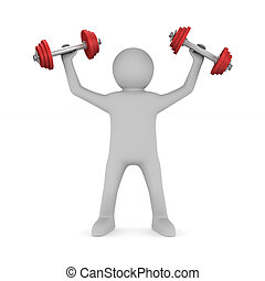 man with dumbbells on white background. Isolated 3D illustration