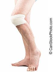 man with elastic bandage on knee