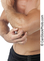 man with elbow pain