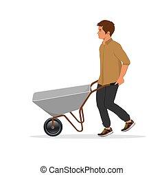 man with empty barrow, vector illustration