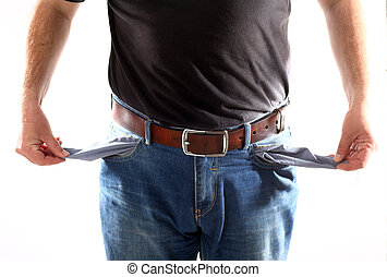 Man with empty pockets on white background