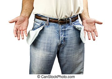 Man with empty pockets - Young unemployed man dressed in...