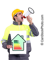 Man with energy rating poster shouting into megaphone