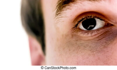 Man with euro symbol in his eye in