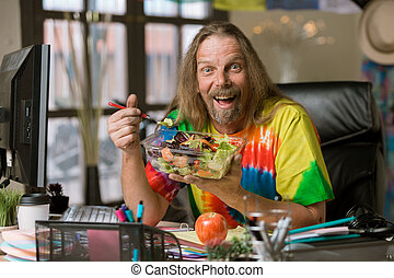 Man with Excited About His Healthy Lunch