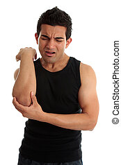 A man, labourer or other occupation crying out with an expression of severe pain in arm, muscle tendon or elbow. White background.