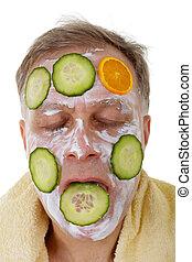 Man with facial mask