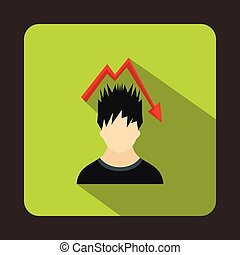 Man with falling red graph over head icon