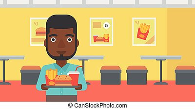 Man with fast food.