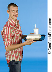 man with fast food meal - blue backgorund