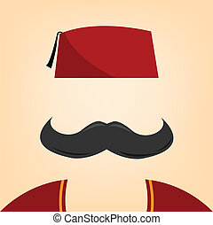 vector illustration of a man with fez
