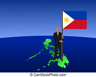 man with filipino flag