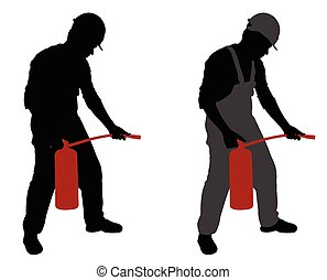 man with fire extinguisher
