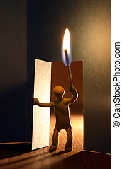 Man With Fire In Dark Room