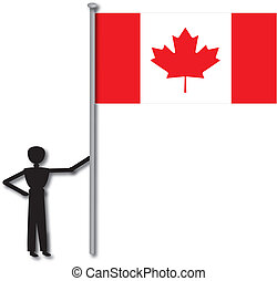 man with flag from country canada