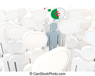 Man with flag of algeria in a crowd