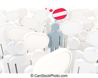 Man with flag of austria in a crowd