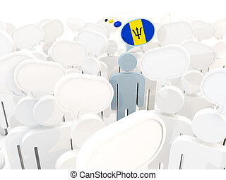 Man with flag of barbados in a crowd