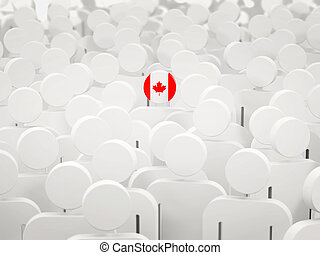 Man with flag of canada in a crowd