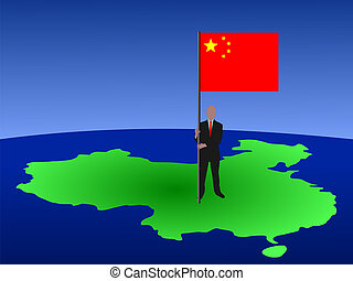 man with flag of China