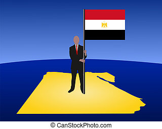 man with flag of Egypt