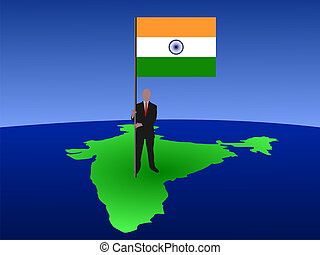 man with flag of India