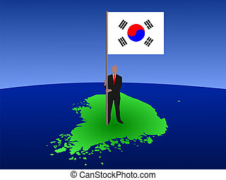 man with flag of Korea
