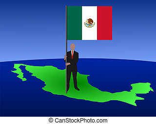 man with flag of Mexico