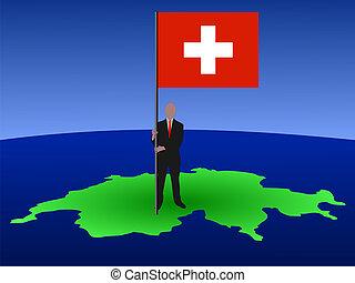 man with flag of Switzerland