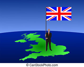man with flag of UK