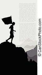 Man with flag standing on top of the mountain