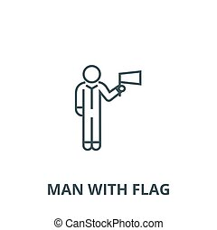 Man with flag vector line icon, linear concept, outline sign, symbol