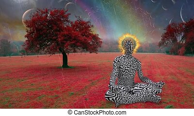 Man with flaming halo meditates in lotus pose in unreal landscape