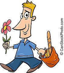 man with flower cartoon illustration