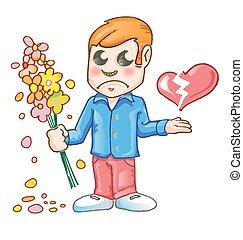 man with flower heartbroken