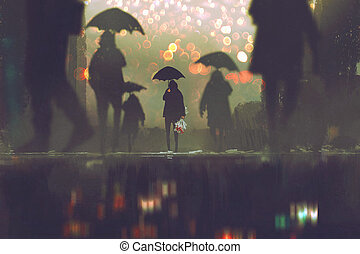 man with flowers bouquet holding umbrella standing alone in a crowds of people