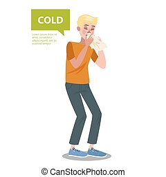 Man with flu or cold sneezing. Common symptom of virus...