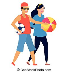 man with football ball and woman with beach ball