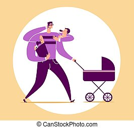 Man with four arms carries baby, stroller, bag with food products and talks on phone. Concept of multifunctional or multitasking dad, super father and modern fatherhood. Cartoon vector illustration