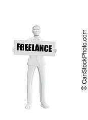 Man with freelance message